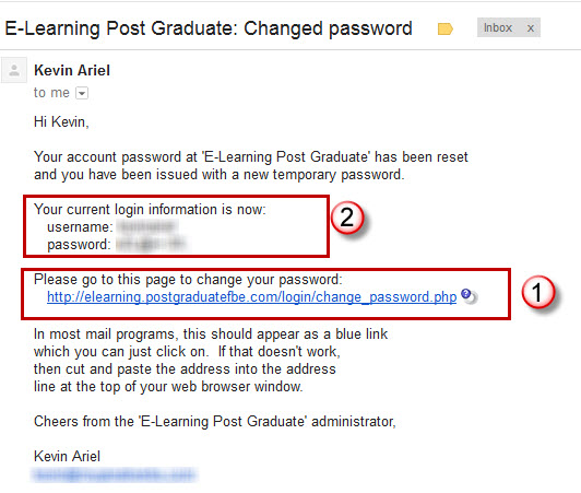 changed password email link