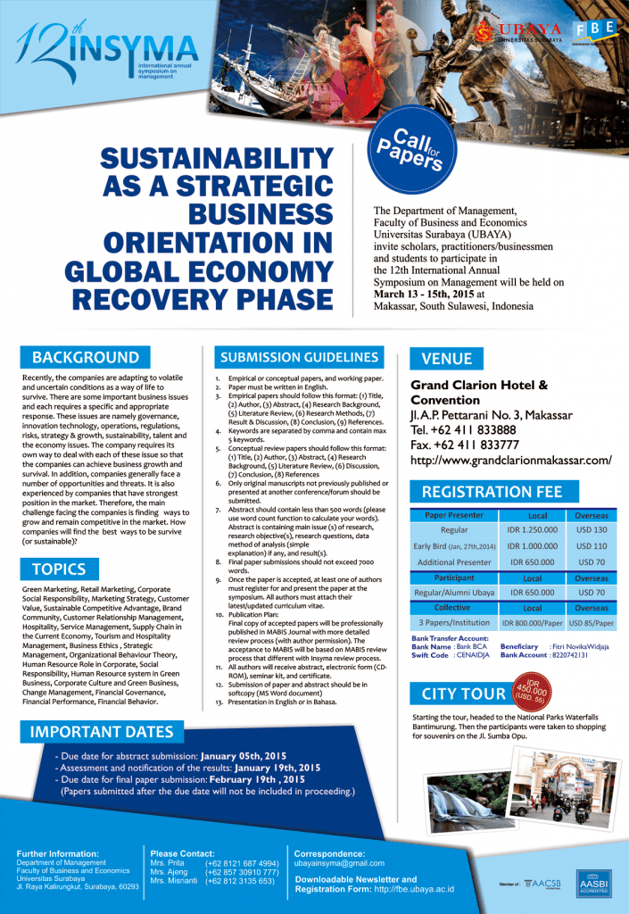 Insyma 2015: SUSTAINABILITY AS A STRATEGIC BUSINESS ORIENTATION IN GLOBAL ECONOMY RECOVERY PHASE